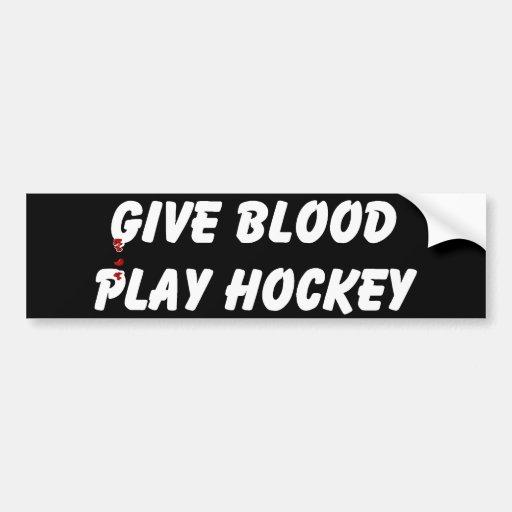 Dé el hockey del juego de la sangre etiqueta de parachoque