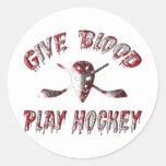 Dé el hockey del juego de la sangre pegatina