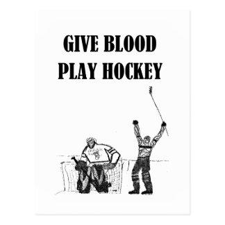 Dé el hockey del juego de la sangre postal