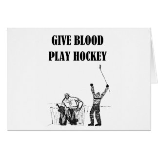 Dé el hockey del juego de la sangre tarjeta de felicitación