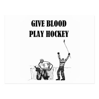 Dé el hockey del juego de la sangre tarjetas postales