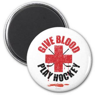 Dé el hockey v1 del juego de la sangre imán redondo 5 cm