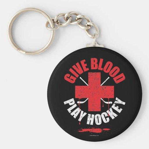Dé el hockey v1 del juego de la sangre llaveros personalizados