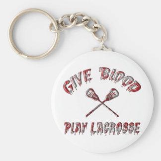Dé el juego LaCrosse de la sangre Llavero Redondo Tipo Pin