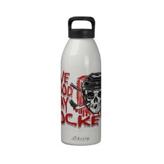 Dé el negro del hockey del juego de la sangre botella de agua reutilizable