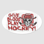 Dé el rojo del hockey del juego de la sangre colcomanias de oval personalizadas