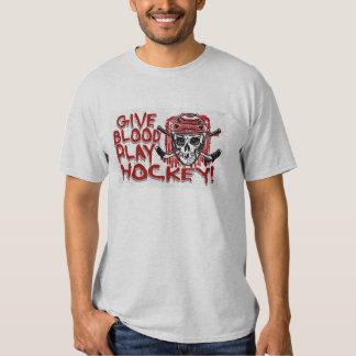 Dé el rojo del hockey del juego de la sangre playera