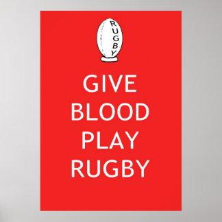 Dé el rugbi del juego de la sangre póster