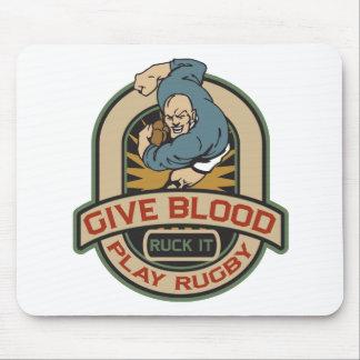 Dé el rugbi del juego de la sangre tapetes de ratón