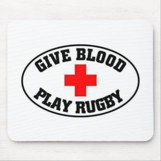 Dé el rugbi del juego de la sangre alfombrillas de raton