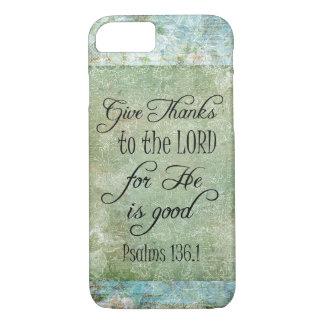 Dé el verso de la biblia de las gracias funda iPhone 7