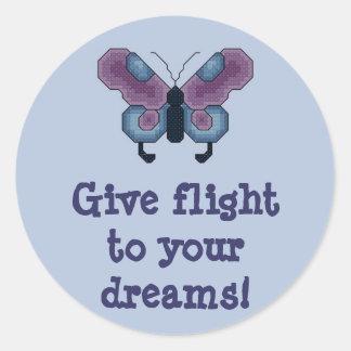 ¡Dé el vuelo a sus sueños! Mariposa Stitcker Pegatina Redonda