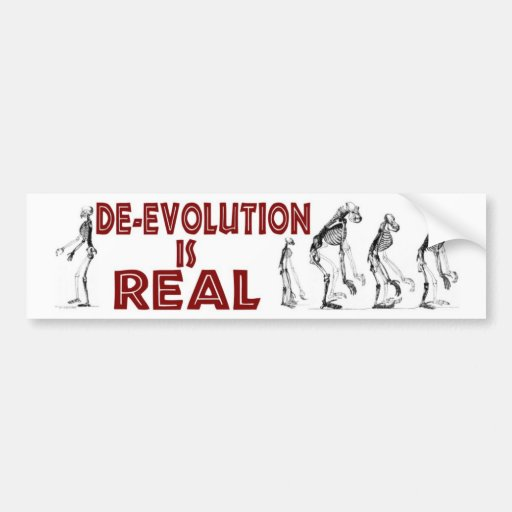 DE-EVOLUTION BUMPER STICKER