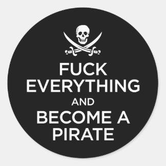 *** de f todo y hecho un pirata etiqueta redonda