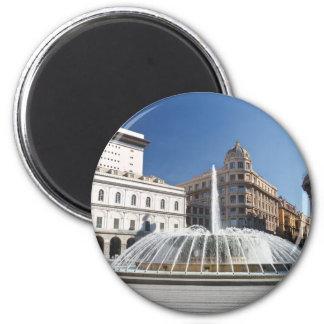 De Ferrari Square, Génova, Italia Imán Redondo 5 Cm
