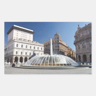 De Ferrari Square, Génova, Italia Pegatina Rectangular