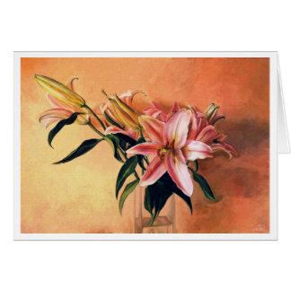 De flores todavía del centro pintura de aceite tarjeta pequeña