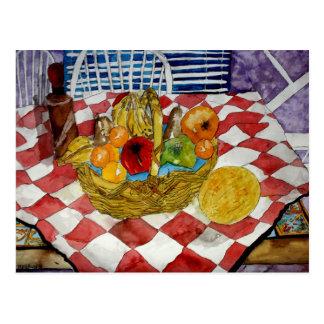 de fruta todavía de la cesta pintura de las postal