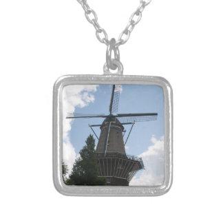 De Gooyer Windmill Amsterdam Square Pendant Necklace