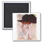 ~ de Gustavo Klimt el gorra negro 1910 Iman De Frigorífico