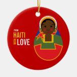 De Haití con el recuerdo de la adopción del amor Adorno Redondo De Cerámica