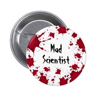 De Halloween científico enojado psico divertido bl Pin Redondo De 2 Pulgadas