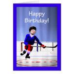De hockey del jugador cumpleaños en horas extras tarjeta de felicitación