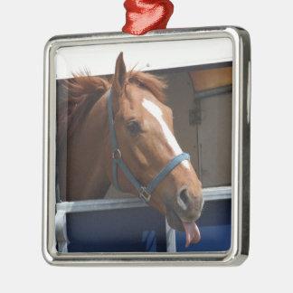De Horsing caballo fresco de la castaña alrededor Adorno Navideño Cuadrado De Metal