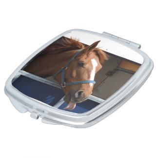 De Horsing caballo fresco de la castaña alrededor Espejos Para El Bolso