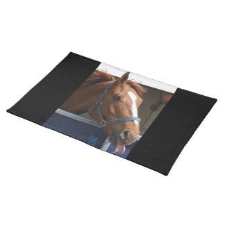 De Horsing caballo fresco de la castaña alrededor Manteles Individuales