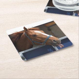 De Horsing caballo fresco de la castaña alrededor Posavasos De Cartón Cuadrado