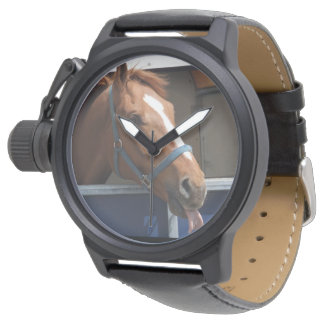De Horsing caballo fresco de la castaña alrededor Relojes De Pulsera