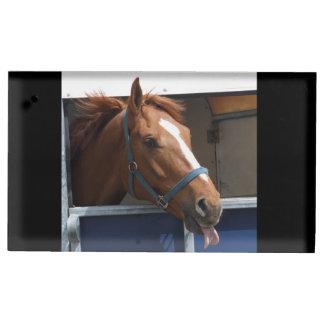 De Horsing caballo fresco de la castaña alrededor Soportes De Tarjeta De Mesa
