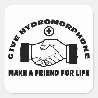 Dé Hydromorphone- hacen a un amigo para la vida Pegatina Cuadrada
