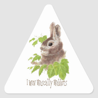 De I del wuv wabbits divertidos wascally, conejo, Pegatina Triangular