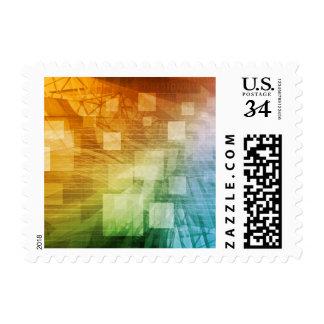 De informática como arte abstracto del fondo sello postal