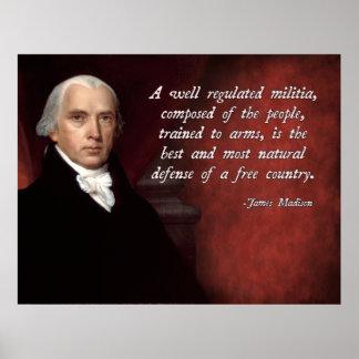 De James Madison enmienda en segundo lugar Póster