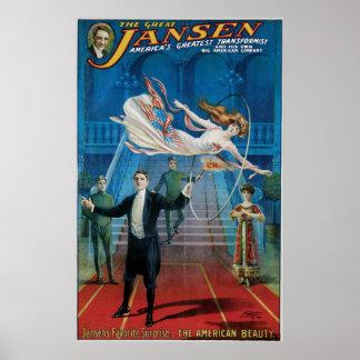 ~ de Jansen el acto mágico del gran vintage Póster