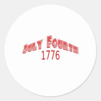 De julio rojo el cuarto de 1776 pegatina redonda