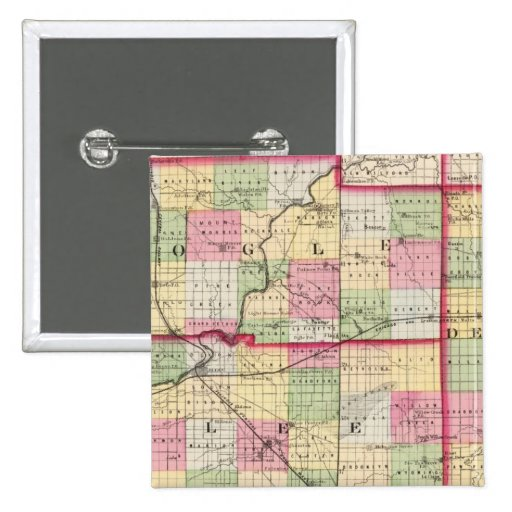 De Kalb, Ogle, Lee counties 2 Inch Square Button