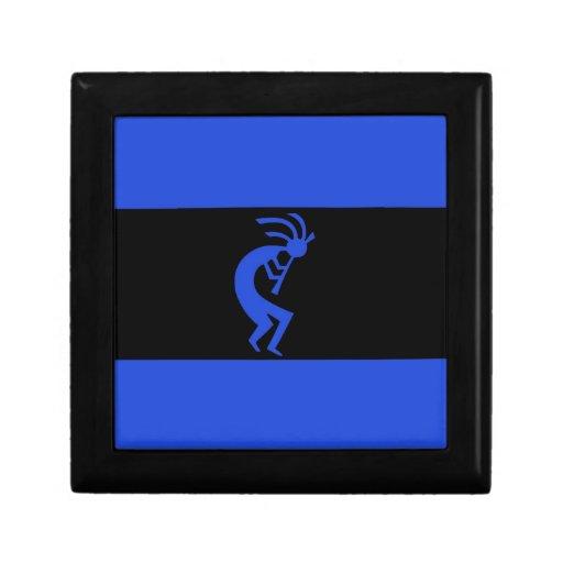 De Kokopelli azul de largo Joyero Cuadrado Pequeño
