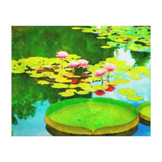 De la acuarela reflexiones waterlily impresión en lienzo estirada