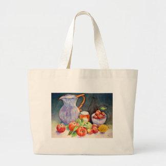 de la acuarela todavía de la fruta vida bolsa tela grande