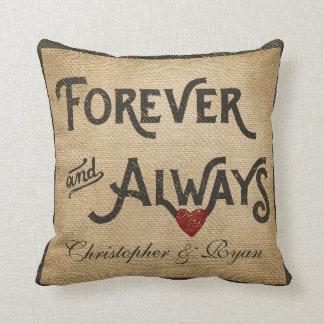 De la arpillera corazón gay para siempre siempre almohada