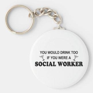 De la bebida asistente social también - llavero redondo tipo pin