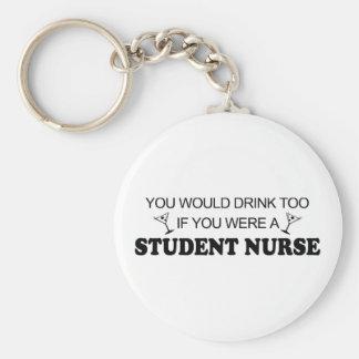De la bebida enfermera de estudiante también - llavero redondo tipo pin