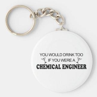 De la bebida ingeniero químico también - llavero redondo tipo pin