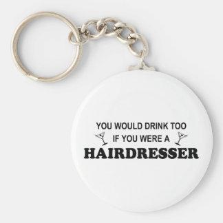 De la bebida peluquero también - llavero redondo tipo pin