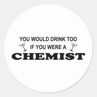 De la bebida químico también - pegatina redonda