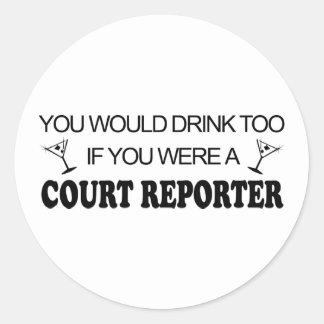 De la bebida reportero de corte también - etiquetas redondas